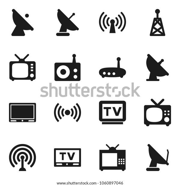 Flat vector icon set - satellite antenna vector, radio, tv, router, wireless