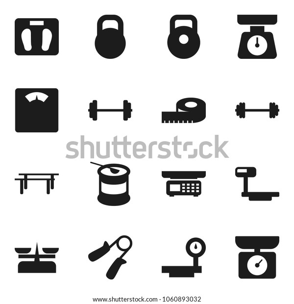 Flat vector icon set - scales vector, barbell, measuring, weight, hand trainer, horizontal bar, sports nutrition, big, store, kitchen