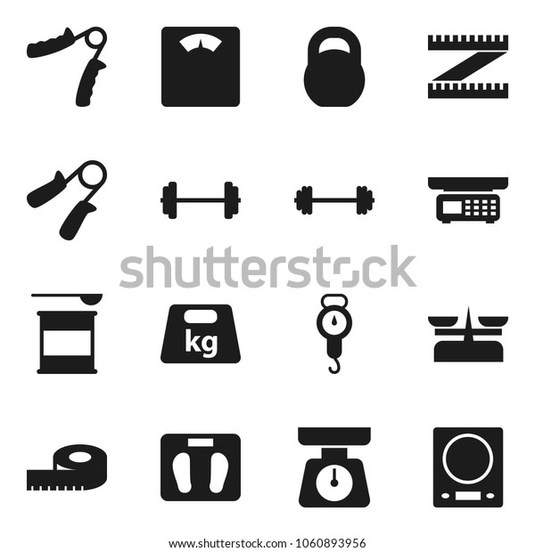 Flat vector icon set - scales vector, barbell, measuring, weight, hand trainer, sports nutrition, store, kitchen