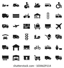 Flat vector icon set - school bus vector, bike, Railway carriage, plane, traffic light, ship, truck trailer, sea container, delivery, car, port, consolidated cargo, warehouse, disabled, amkbulance