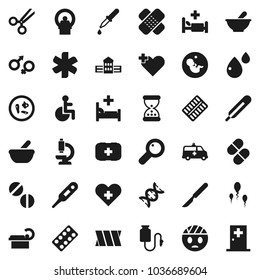 Flat vector icon set - school building vector, first aid kit, ambulance star, disabled, heart cross, thermometer, gender sign, dna, magnifier, pregnancy, dropper, scissors, scalpel, sand clock, head