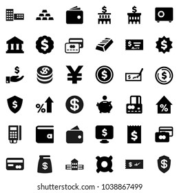 Flat vector icon set - school building vector, bank, dollar coin, gold ingot, credit card, wallet, percent growth, piggy, investment, check, receipt, medal, shield, safe, monitor, any currency