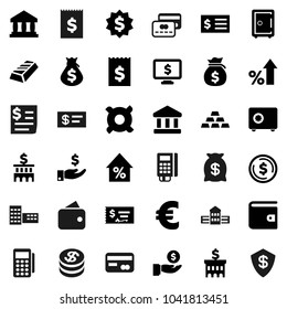 Flat vector icon set - school building vector, bank, dollar coin, gold ingot, wallet, percent growth, money bag, investment, check, receipt, medal, safe, monitor, any currency, euro sign, reader