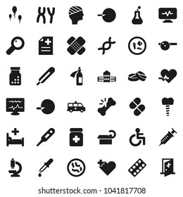 Flat vector icon set - school building vector, disabled, heart pulse, cross, thermometer, flask, dna, magnifier, insemination, syringe, dropper, broken bone, patch, pills, bottle, blister, microbs
