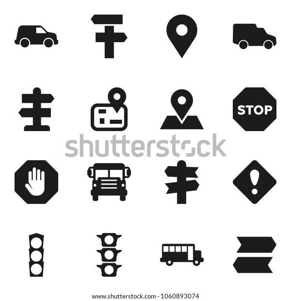 Flat vector icon set - school bus vector, signpost, navigator, map pin, traffic light, car, attention sign, stop