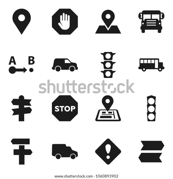 Flat vector icon set - school bus vector, signpost, navigator, map pin, traffic light, car, route, attention sign, stop