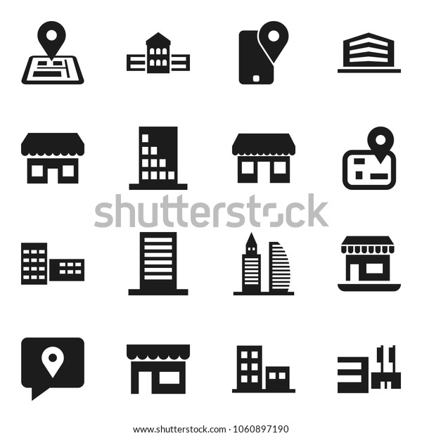 Flat vector icon set - school building vector, navigator, office, traking, apartments, store, mall