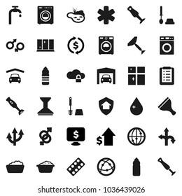 Flat vector icon set - scraper vector, water drop, car fetlock, toilet brush, washer, foam basin, shining window, blender, exchange, dollar growth, monitor, bottle, route, internet, ambulance star