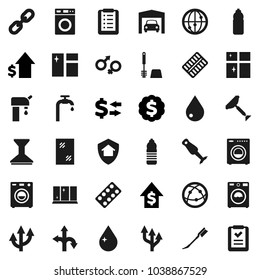 Flat vector icon set - scraper vector, water drop, car fetlock, window cleaning, toilet brush, washer, shining, blender, exchange, dollar growth, medal, bottle, route, internet, gender sign, chain