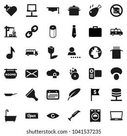 Flat vector icon set - scraper vector, bath, washer, toilet paper, pan, pasta, mushroom, chicken leg, graduate hat, pen, school bus, music, case, dollar flag, tie, no fastfood, heart cross, earth