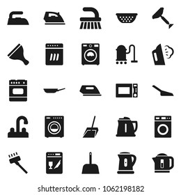 Flat vector icon set - scraper vector, vacuum cleaner, fetlock, scoop, iron, steaming, washer, water tap, pan, kettle, colander, microwave oven, dishwasher