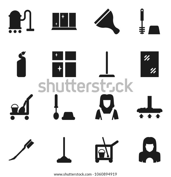 Flat vector icon set - scraper vector, cleaner trolley, vacuum, mop, car fetlock, window cleaning, toilet brush, agent, shining, woman