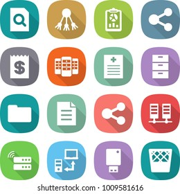 flat vector icon set - search document vector, share, report, receipt, server, recipe, archive, documents, data transfer, usb flash, trash bin