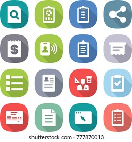 flat vector icon set - search document vector, report, clipboard, share, receipt, pass card, atm, list, anamnesis, architector, check, invoice, browser window