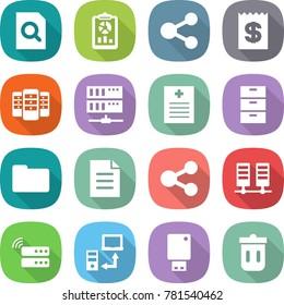 flat vector icon set - search document vector, report, share, receipt, server, recipe, archive, documents, data transfer, usb flash, trash bin