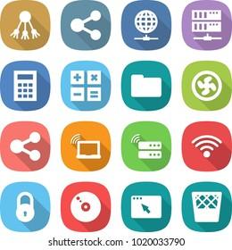 flat vector icon set - share vector, globe connect, server, calculator, documents, cooler fan, laptop wifi, wireless, lock, cd, browser window, trash bin