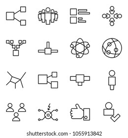 Flat vector icon set - share vector, group, comments, friendship, family tree, connect, network, connection, user, spark distributor, like, check