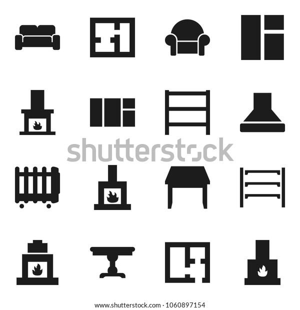 Flat vector icon set - shelving vector, plan, table, cushioned furniture, fireplace, hood, heater, window