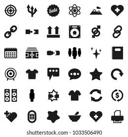 Flat vector icon set - shining vector, splotch, copybook, atom, exchange, man, stadium, target, calendar, heart cross, top sign, link, favorites, gender, mortar, disconnection, message, refresh