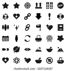 Flat vector icon set - shining vector, splotch, mixer, copybook, atom, man, arrow down, calendar, target, no fastfood, heart cross, attention, top sign, link, favorites, eye, mortar, disconnection