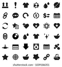 Flat vector icon set - shining vector, splotch, atom, exchange, pie graph, arrow down, calendar, target, heart cross, stadium, attention, satellite, top sign, link, favorites, mortar, blood drop