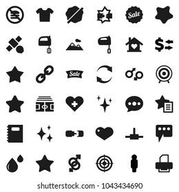 Flat vector icon set - shining vector, splotch, mixer, copybook, exchange, man, stadium, target, no fastfood, satellite, link, favorites, heart, cross, gender sign, blood drop, connect, message