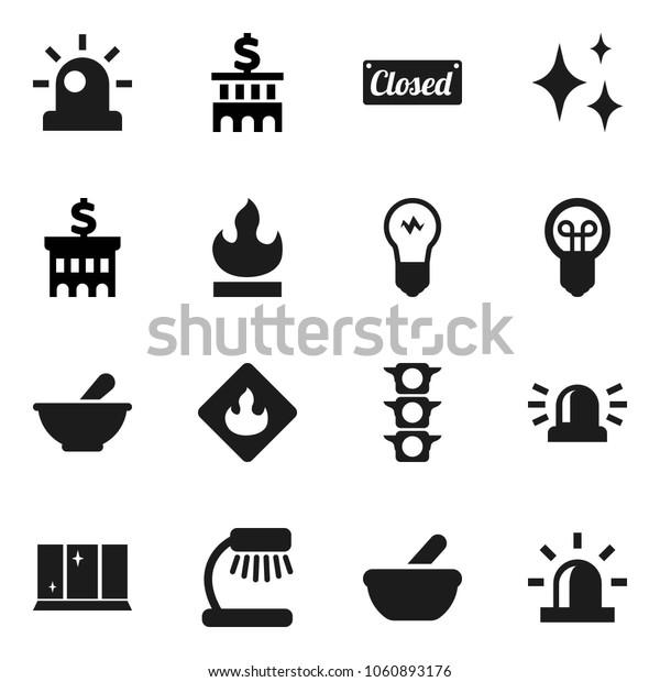 Flat vector icon set - shining vector, window, table lamp, bank building, traffic light, flammable, mortar, siren, closed, bulb