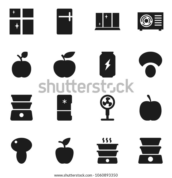 Flat vector icon set - shining window vector, double boiler, mushroom, apple fruit, diet, enegry drink, ari condition, fridge, fan