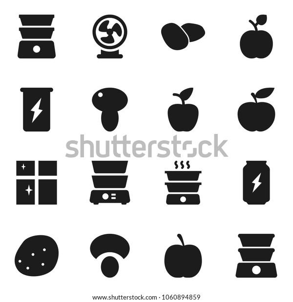 Flat vector icon set - shining window vector, double boiler, mushroom, potato, apple fruit, diet, enegry drink, fan