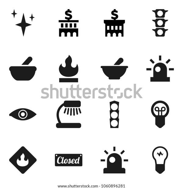Flat vector icon set - shining vector, table lamp, bank building, traffic light, flammable, eye, mortar, siren, closed, bulb