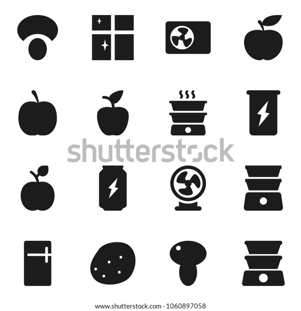 Flat vector icon set - shining window vector, double boiler, mushroom, potato, apple fruit, diet, enegry drink, air condition, fridge, fan