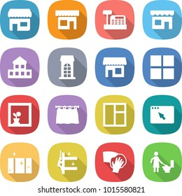flat vector icon set - shop vector, cashbox, cottage, building, window, flower in, curtain, browser, clean, skyscrapers cleaning, wiping, toilet