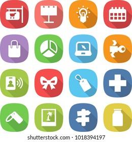 flat vector icon set - shop signboard vector, billboard, bulb, calendar, shopping bag, diagram, notebook, satellite, pass card, bow, label, cross, photo, signpost, bank