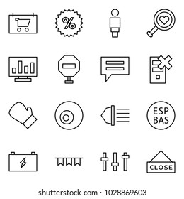 Flat vector icon set - shop sign vector, percent, woman, find love, statistics, stop, chat, disable server, box, eye, high beam, ESP, battery, garland, settings, close