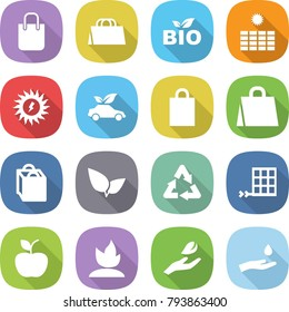 flat vector icon set - shopping bag vector, bio, sun power, eco car, leafs, recycle, solar panel, apple, sprouting, hand leaf, and drop