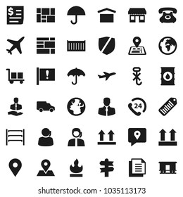 Flat vector icon set - signpost vector, navigator, earth, map pin, attention, office, plane, phone, 24, support, client, traking, sea container, car, receipt, consolidated cargo, document, umbrella