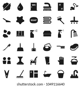 Flat vector icon set - soap vector, cleaner trolley, vacuum, fetlock, scoop, rake, bucket, clothespin, sponge, towel, trash bin, water drop, car, window cleaning, splotch, bath, washing powder, tap