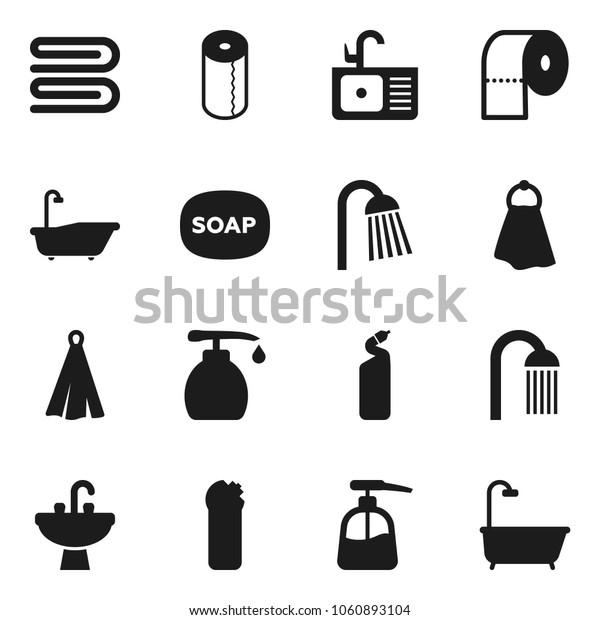 Flat vector icon set - soap vector, towel, bath, liquid, cleaning agent, toilet paper, shower, sink