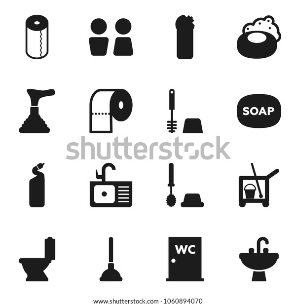 Flat vector icon set - soap vector, plunger, cleaner trolley, toilet, brush, cleaning agent, paper, water closet, sink