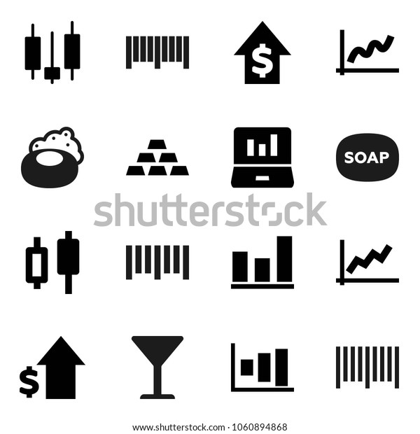 Flat vector icon set - soap vector, graph, japanese candle, laptop, dollar growth, gold ingot, glass, barcode