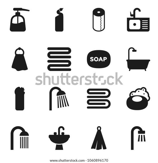 Flat vector icon set - soap vector, towel, liquid, cleaning agent, toilet paper, shower, sink, bath
