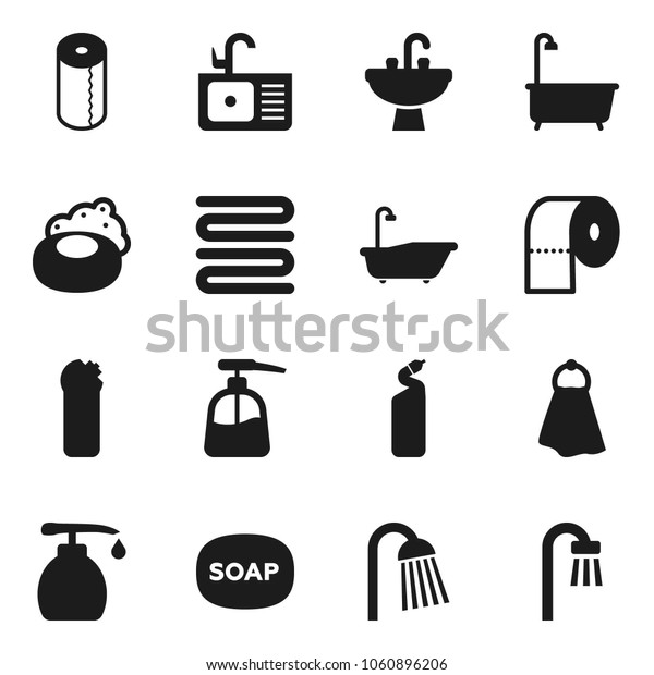 Flat vector icon set - soap vector, towel, bath, liquid, cleaning agent, toilet paper, shower, sink