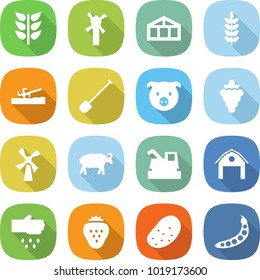 flat vector icon set - spikelets vector, windmill, greenhouse, spike, soil cutter, shovel, pig, grape, sheep, harvester, barn, sow, strawberry, potato, peas