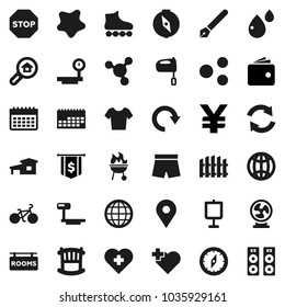 Flat vector icon set - splotch vector, mixer, bbq, pen, compass, presentation, molecule, wallet, dollar flag, yen sign, bike, shorts, t shirt, roller Skates, calendar, heart cross, map pin, share