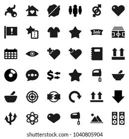 Flat vector icon set - splotch vector, mixer, copybook, atom, exchange, pie graph, man, arrow down, calendar, stadium, target, heart cross, attention, satellite, top sign, eye, gender, mortar, redo