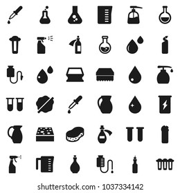 Flat vector icon set - sponge vector, water drop, splotch, liquid soap, sprayer, cleaning agent, oil, measuring cup, jug, flask, enegry drink, vial, dropper, blood, potion, counter, filter