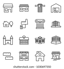 Flat vector icon set - store vector, shop, lighthouse, warehouse, home and tree, factory server, excursion, office, mansion, school, university, building, blocks, restaurant, house