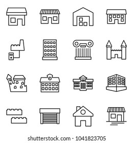 Flat vector icon set - store vector, shop, warehouse, house, factory server, hotel, excursion, mansion, castle, school, university, building, blocks, garage