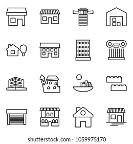 Flat vector icon set - store vector, shop, lighthouse, warehouse, home and tree, house, hotel, excursion, office, castle, blocks, garage, restaurant