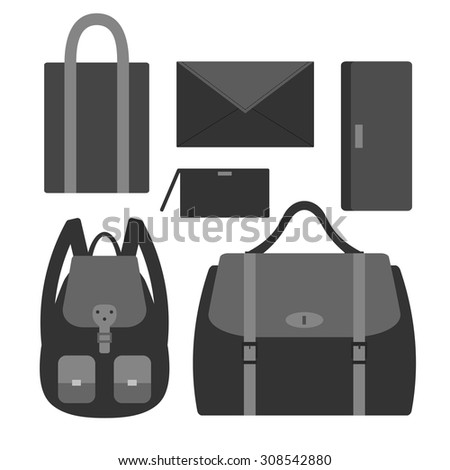 04c8b558e9c Flat vector icon set with styles of female bags. 6 types of woman handbags   backpack, envelope, wristlet, tote bag, messenger and clutch bag Icon.